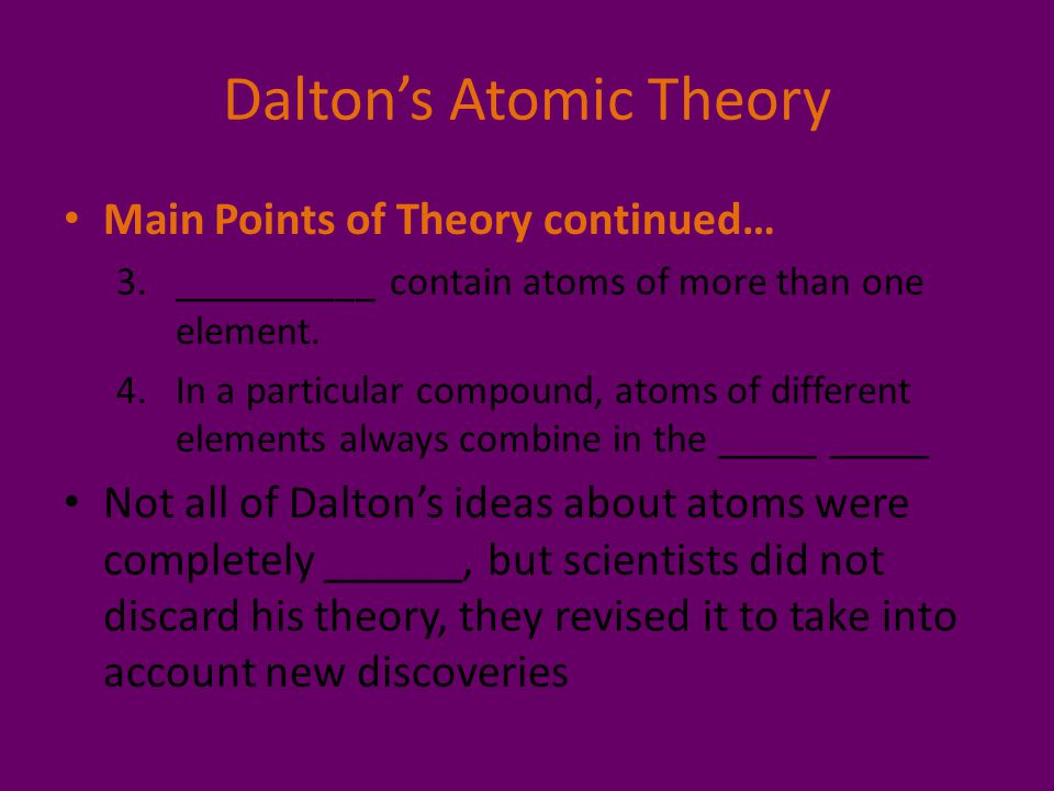 Dalton's Atomic Theory