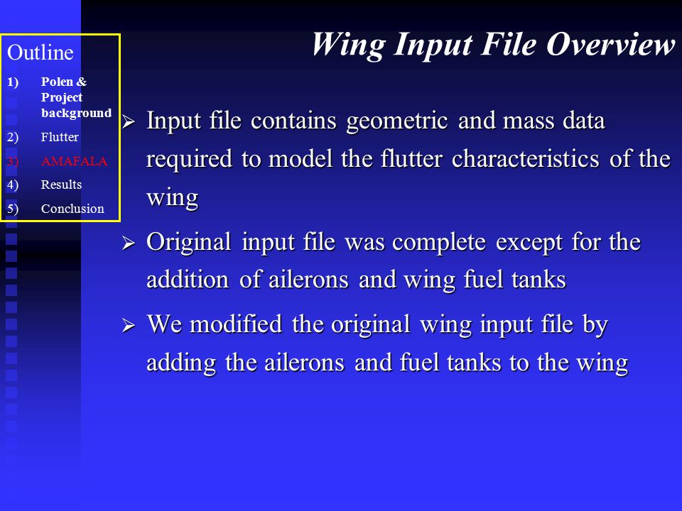 Wing Input File Overview