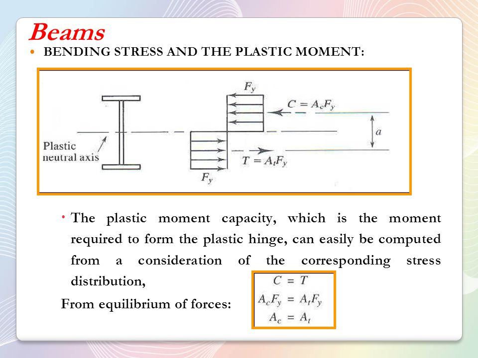 Beams BENDING STRESS AND THE PLASTIC MOMENT: