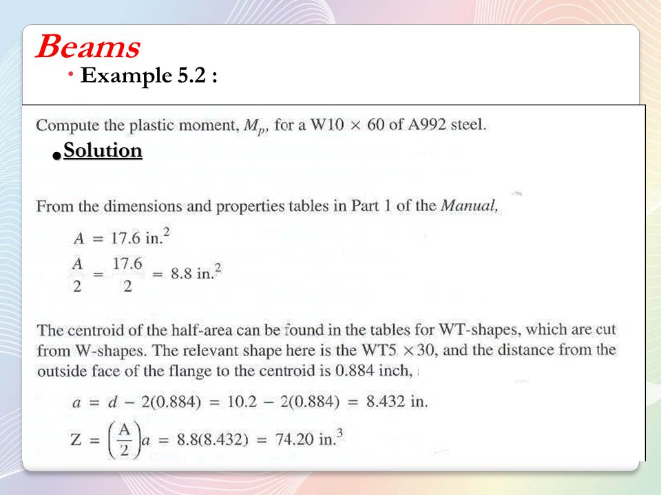 Beams Example 5.2 : Solution