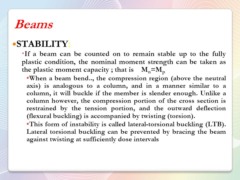 Beams STABILITY: