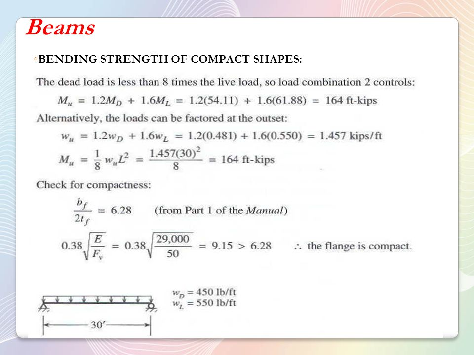Beams BENDING STRENGTH OF COMPACT SHAPES: