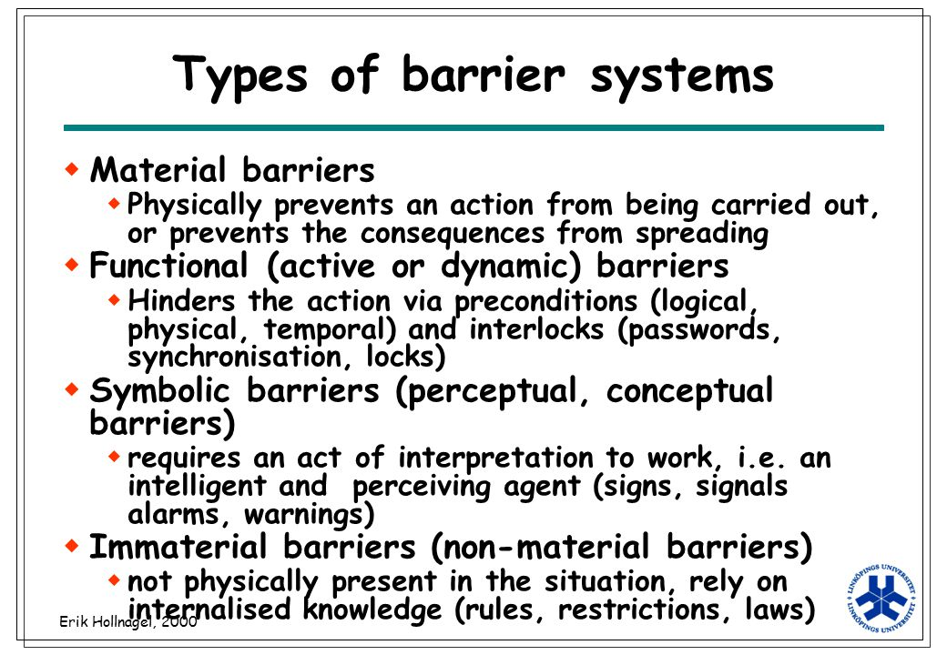 Types of barrier systems