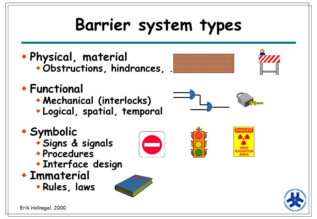 Barrier system types Physical, material Functional Symbolic Immaterial