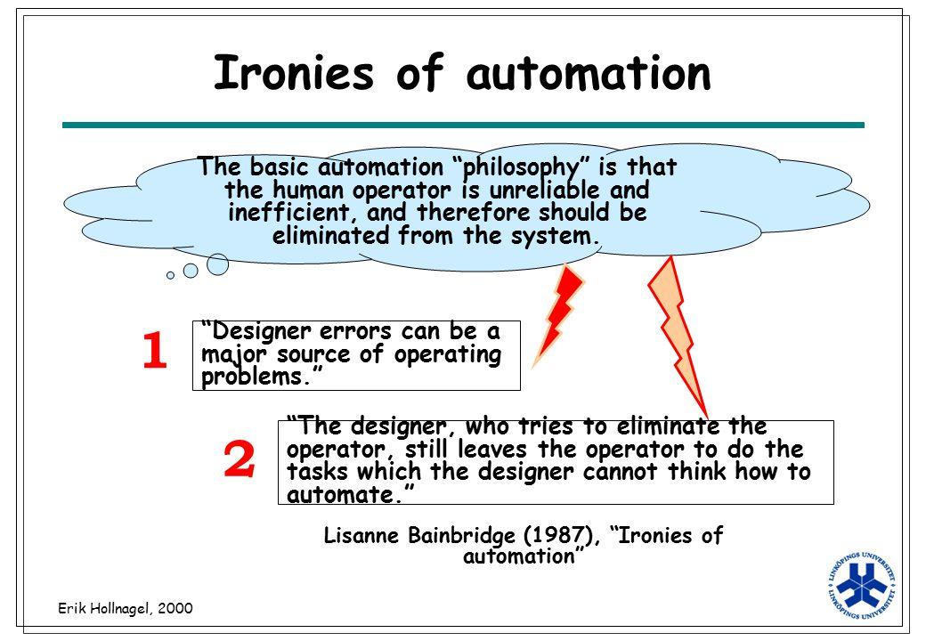 Lisanne Bainbridge (1987), Ironies of automation