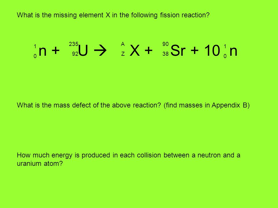 What is the missing element X in the following fission reaction
