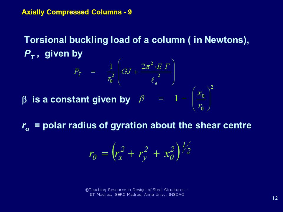 Axially Compressed Columns - 9