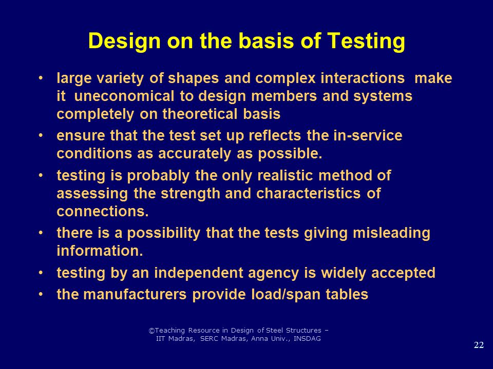 Design on the basis of Testing