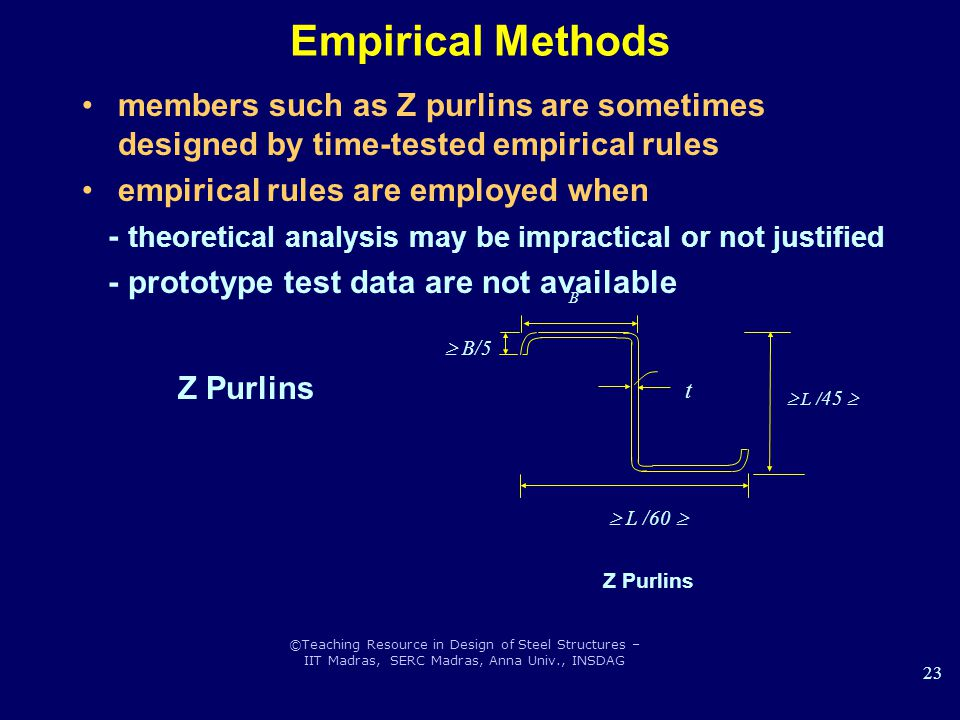Empirical Methods Z Purlins