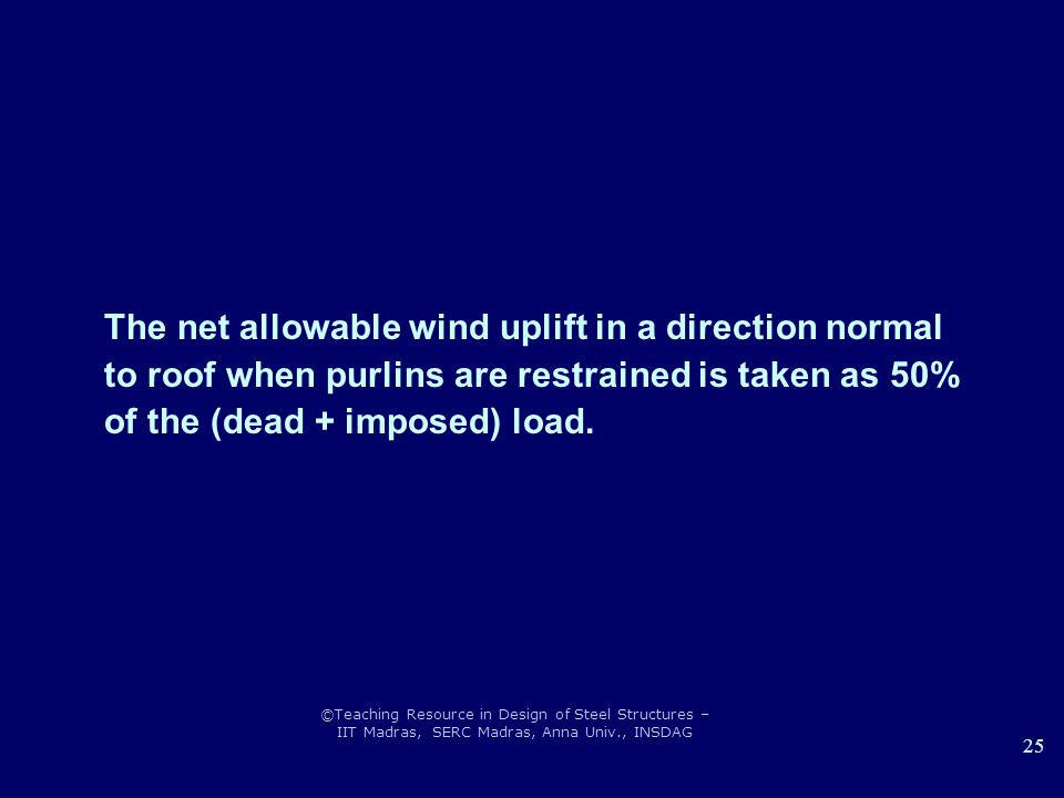The net allowable wind uplift in a direction normal