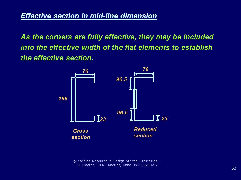 Effective section in mid-line dimension