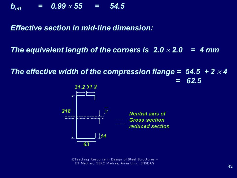 Effective section in mid-line dimension:
