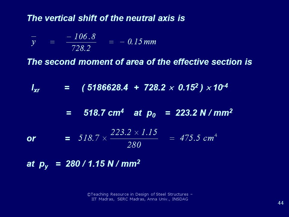 The vertical shift of the neutral axis is