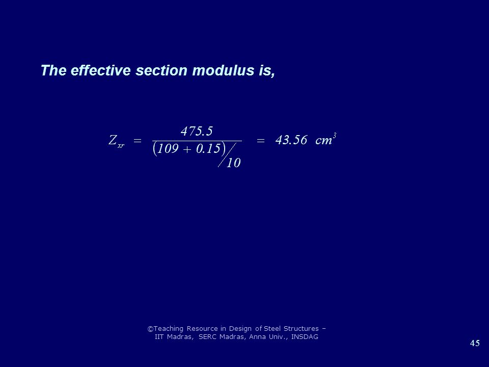 The effective section modulus is,