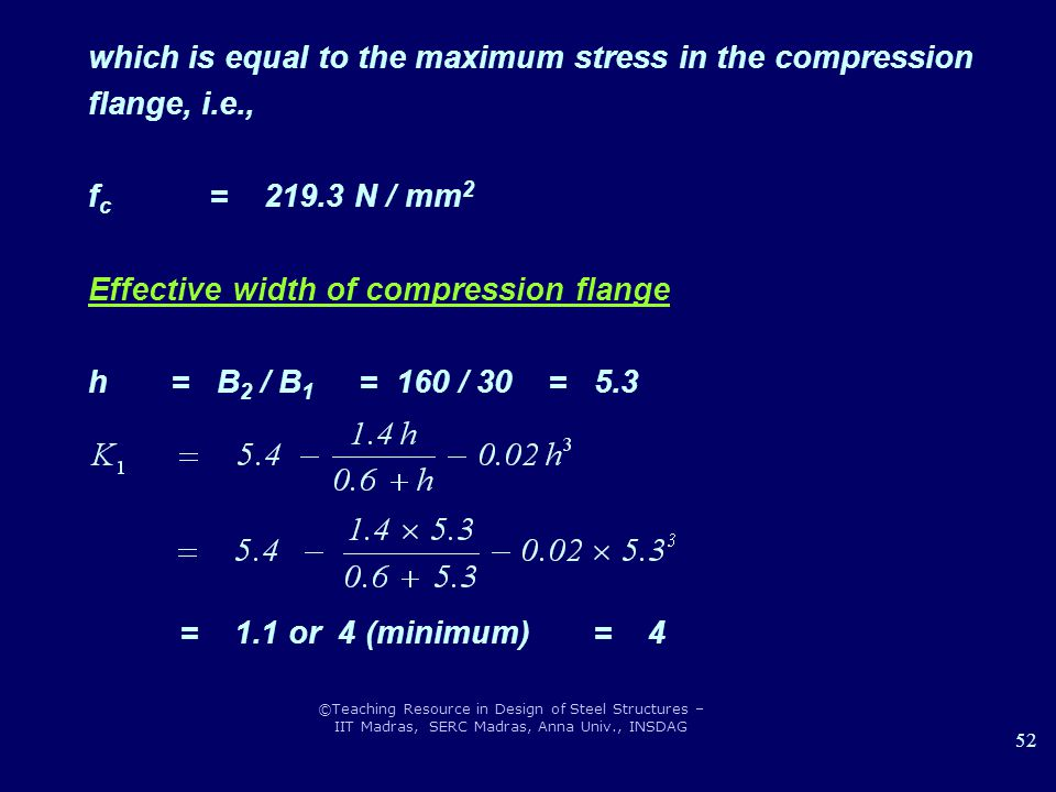 which is equal to the maximum stress in the compression