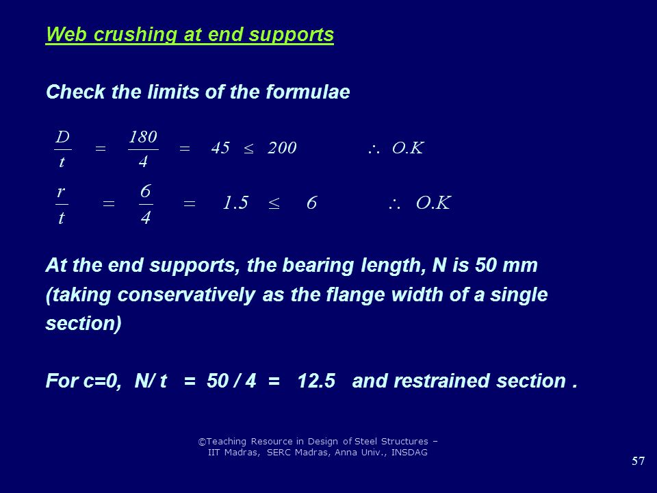 Web crushing at end supports Check the limits of the formulae