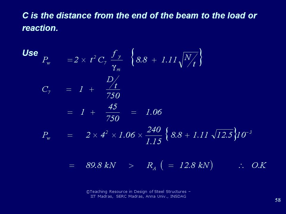 C is the distance from the end of the beam to the load or reaction.