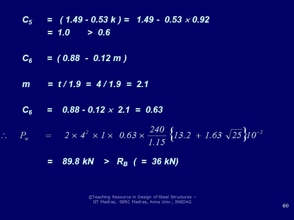 C5 = ( 1.49 - 0.53 k ) = 1.49 - 0.53  0.92 = 1.0 > 0.6. C6 = ( 0.88 - 0.12 m )