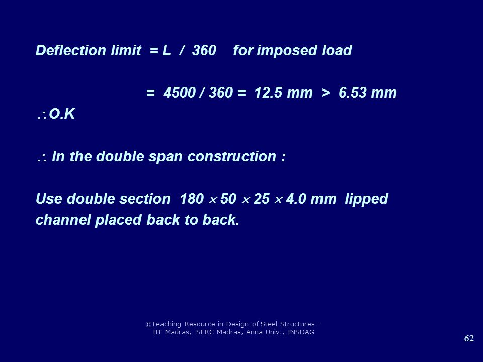 Deflection limit = L / 360 for imposed load