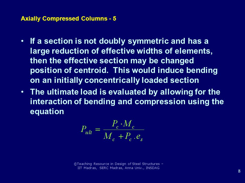 Axially Compressed Columns - 5