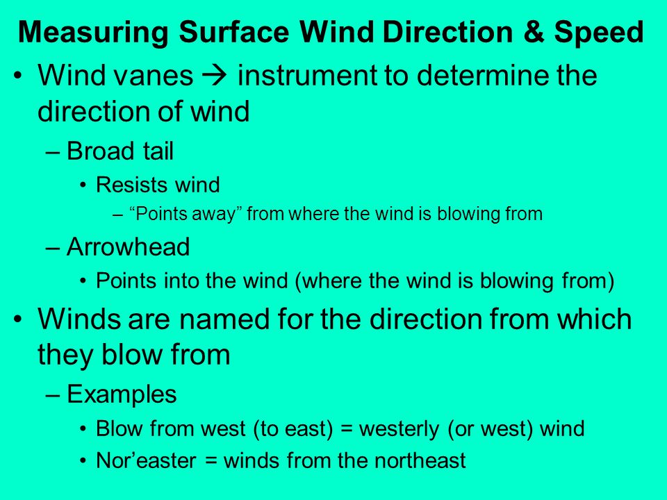 Measuring Surface Wind Direction & Speed