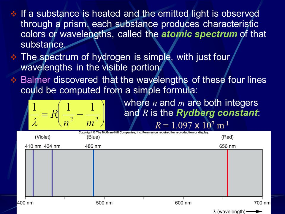 If a substance is heated and the emitted light is observed through a prism, each substance produces characteristic colors or wavelengths, called the atomic spectrum of that substance.