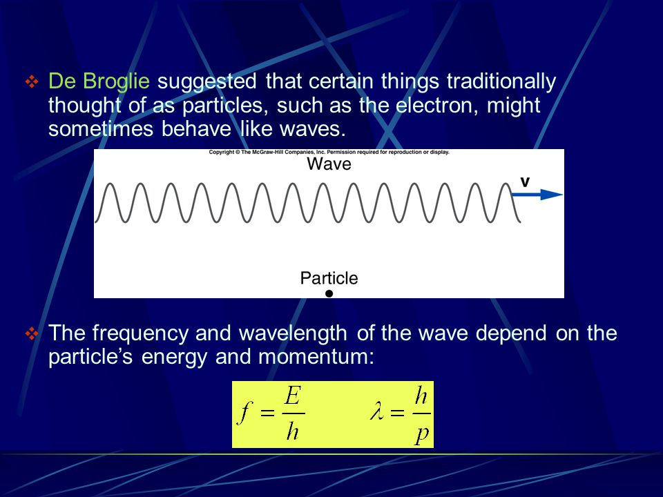 De Broglie suggested that certain things traditionally thought of as particles, such as the electron, might sometimes behave like waves.