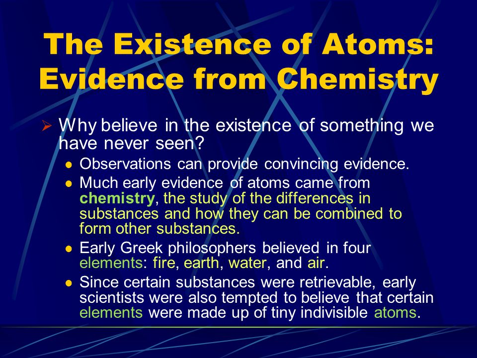The Existence of Atoms: Evidence from Chemistry