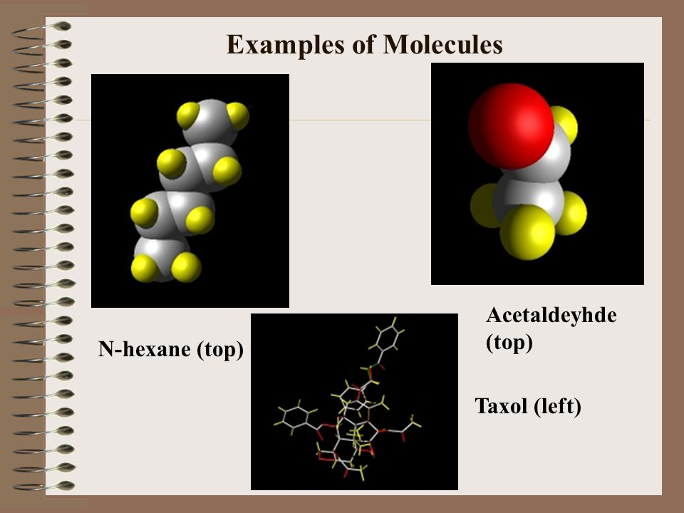 Examples of Molecules Acetaldeyhde (top) N-hexane (top) Taxol (left)