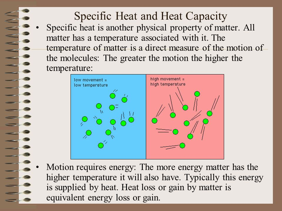 Specific Heat and Heat Capacity