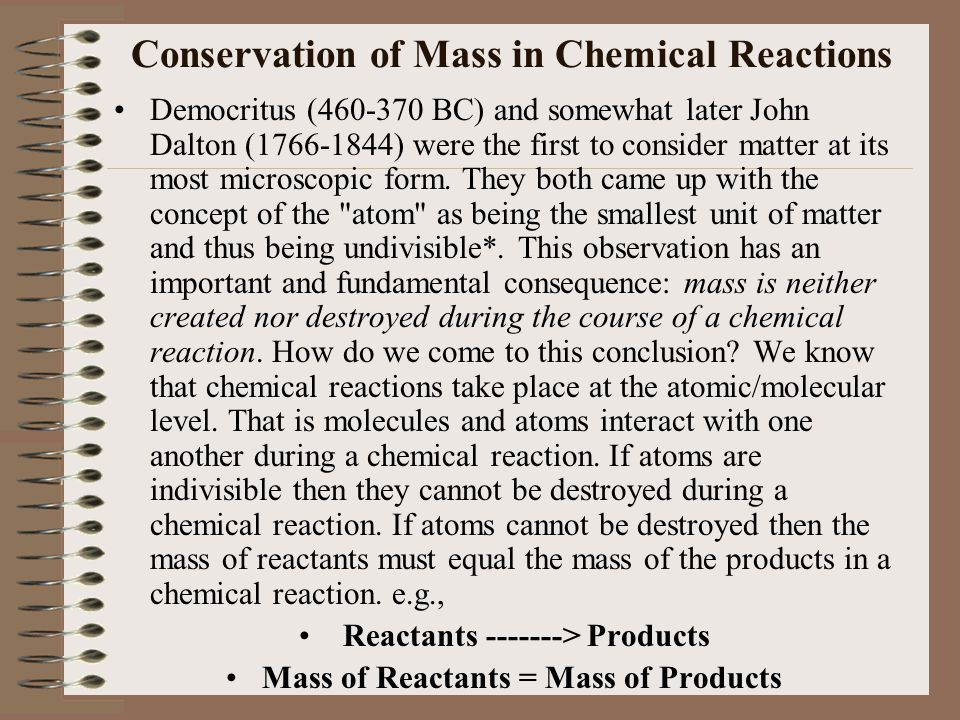 Conservation of Mass in Chemical Reactions