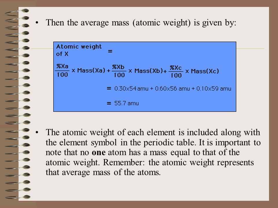 Then the average mass (atomic weight) is given by: