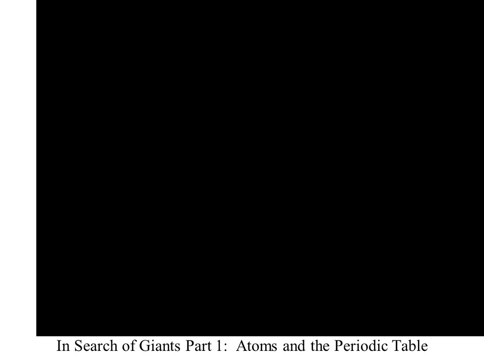 In Search of Giants Part 1: Atoms and the Periodic Table