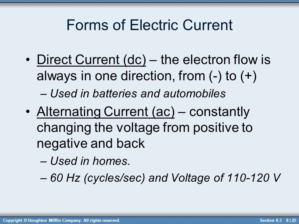 Forms of Electric Current