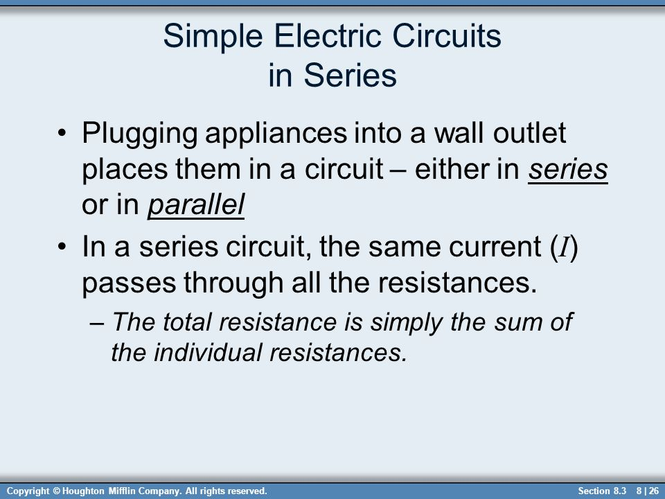 Simple Electric Circuits in Series