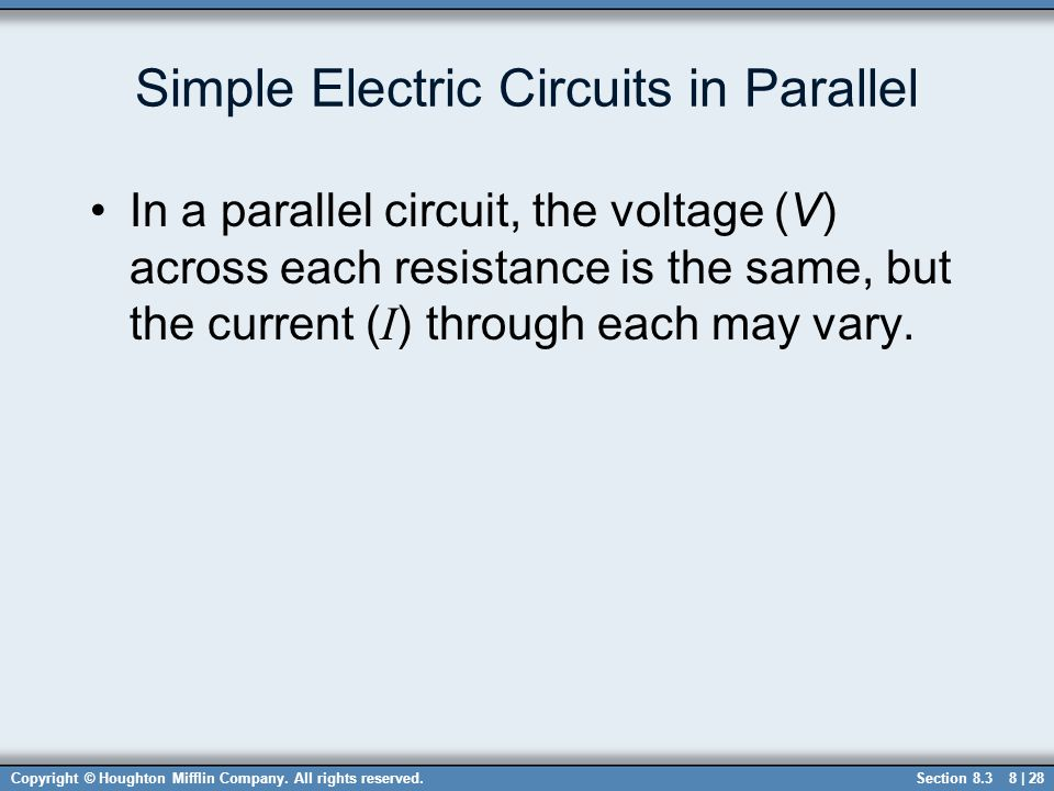 Simple Electric Circuits in Parallel