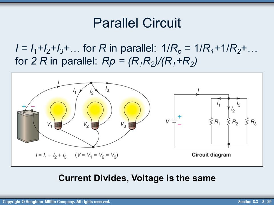 Current Divides, Voltage is the same