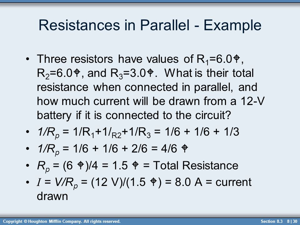 Resistances in Parallel - Example