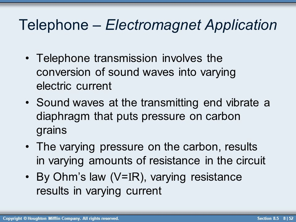 Telephone – Electromagnet Application