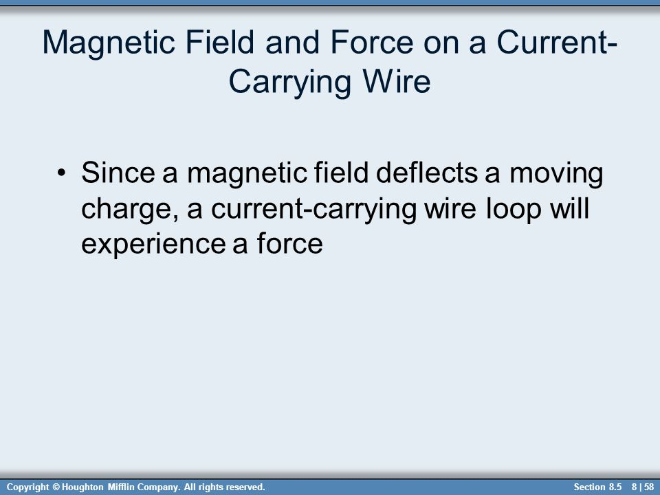 Magnetic Field and Force on a Current-Carrying Wire