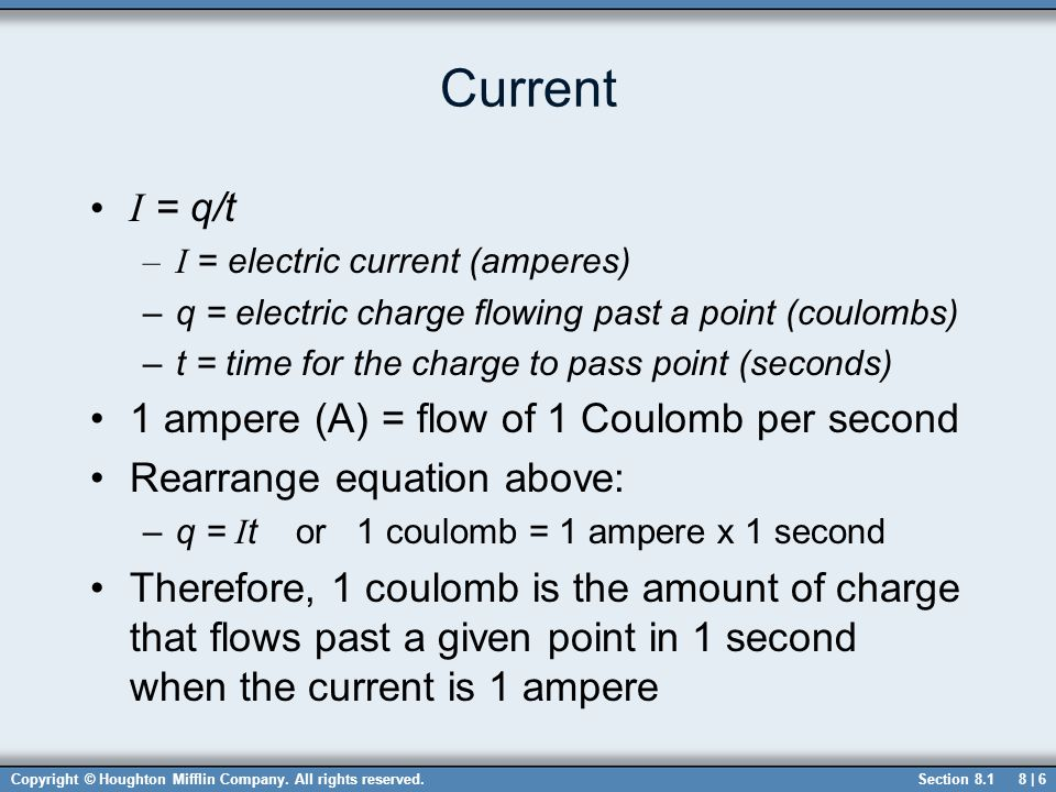 Current I = q/t 1 ampere (A) = flow of 1 Coulomb per second