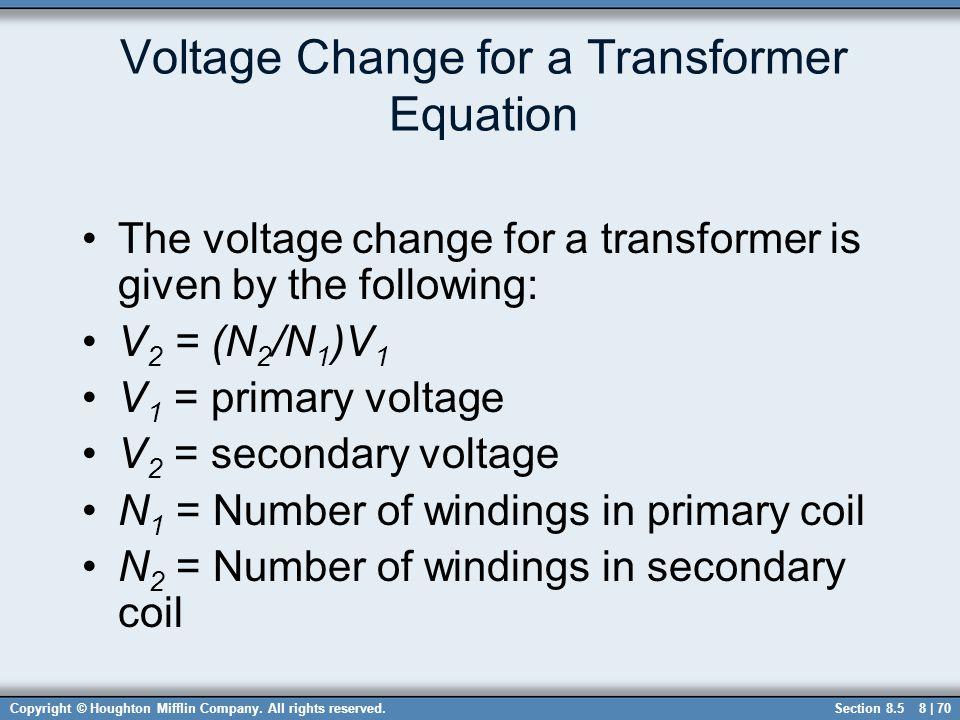 Voltage Change for a Transformer Equation