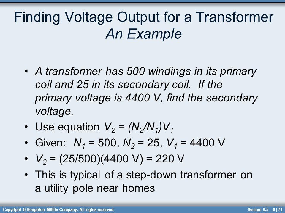 Finding Voltage Output for a Transformer An Example