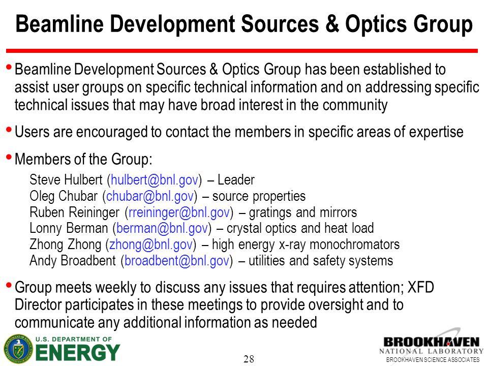 Beamline Development Sources & Optics Group