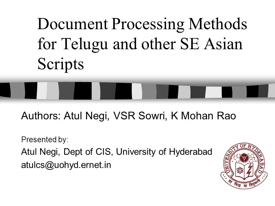 Document Processing Methods for Telugu and other SE Asian Scripts