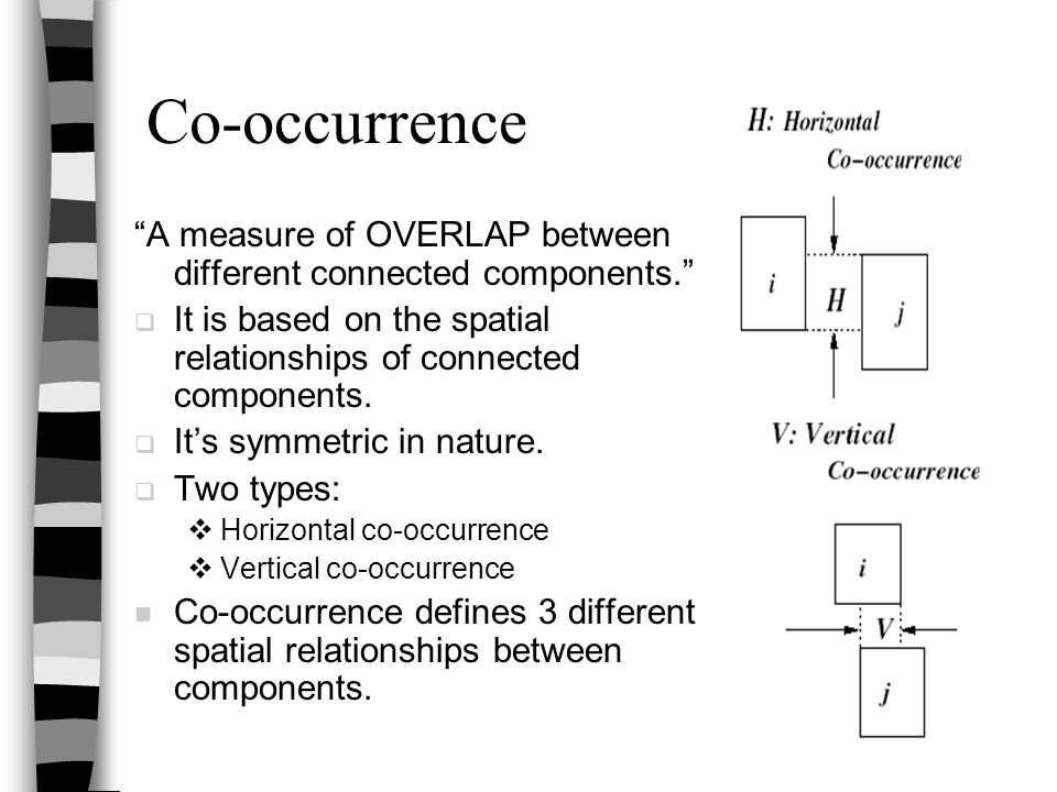 Co-occurrence A measure of OVERLAP between different connected components. It is based on the spatial relationships of connected components.