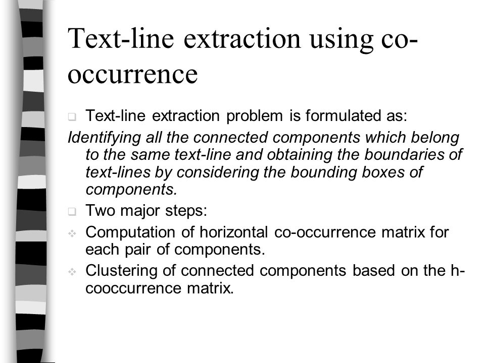 Text-line extraction using co-occurrence