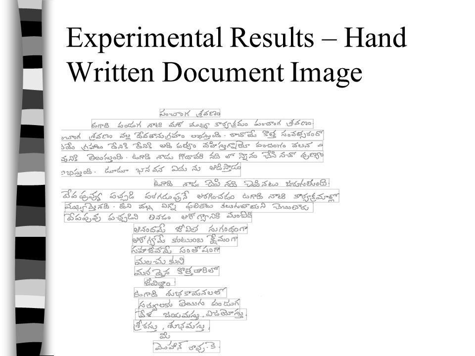 Experimental Results – Hand Written Document Image