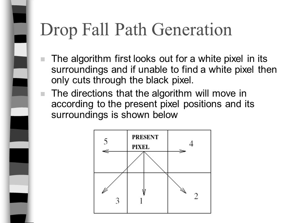 Drop Fall Path Generation