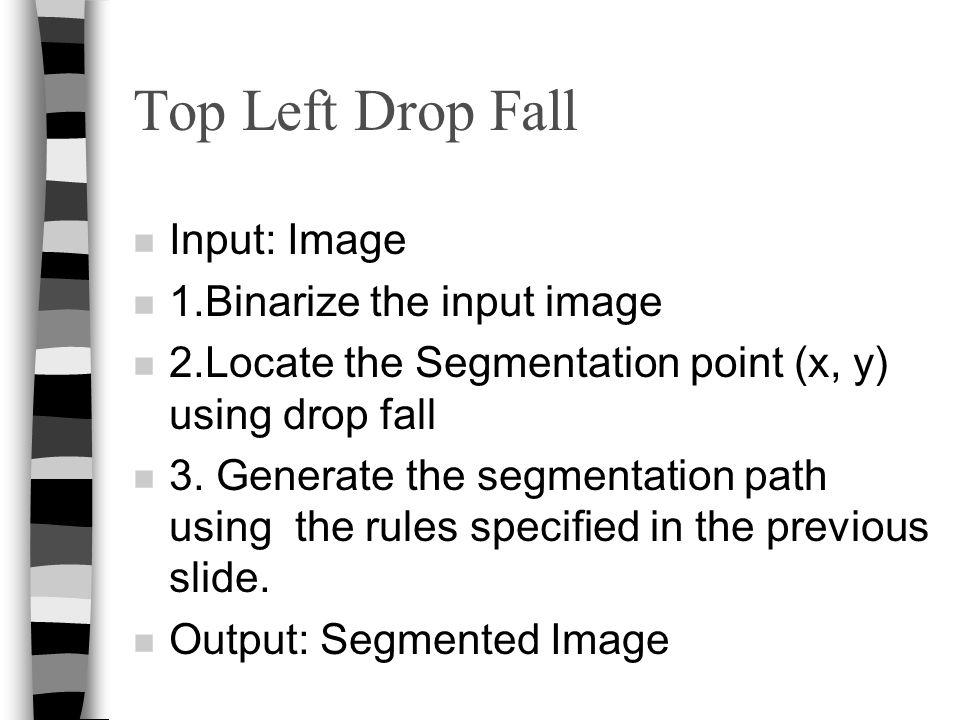 Top Left Drop Fall Input: Image 1.Binarize the input image